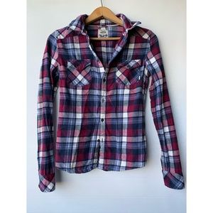 XS, TNA, blue and red/violet button down plaid flannel